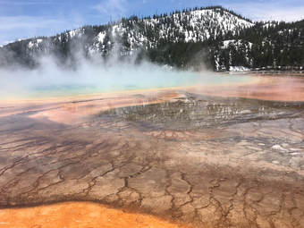 Grand Prismatic Hot Spring in Winter